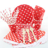 Red Polka DOT Party Paper Tableware for Wedding Decoration
