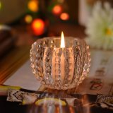 Hobnail Patterned Clear Glass Candle Holders