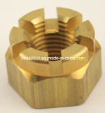 High Precision Hexagon Slotted Brass Castle Nut for Mounting Radiator