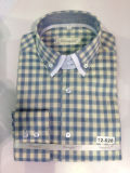 Men's Business Long Sleeve Contrast Double Collar Cotton Check Shirt