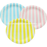 Striped Party Paper Plates Disposable Tableware for Wedding Decoration Supply