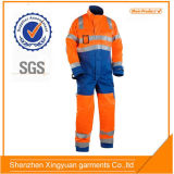 China Factory 100%Cotton Safety Flame Retardant Winter Coverall with 3m Reflective Trape