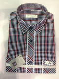 Men's Business Long Sleeve Contrast Piping Cotton Check Shirt
