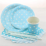 Disposable Polka DOT Blue Party Paper Tableware