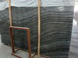 Polished Chinese Wood Grain Black Serpeggiante/Antique Marble for Floor