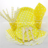 Yellow Polka DOT Disposable Party Paper Tableware Sets