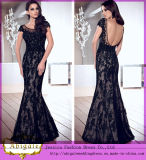 High Quality Custom Made Mermaid Black Lace Sweetheart Backless Floor Length Evening Dress 2014 (MN1804)