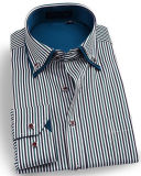 Men's Business Wrinke Free Long Sleeve Striped Double Collar Shirt