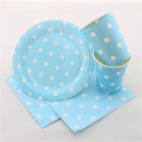 Blue Polka DOT Paper Party Tableware