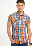 Men's Causal Linen Check Short Sleeve Shirt