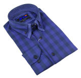Men's Business Long Sleeve Check Double Collar Shirt