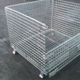 Stackable Collapsible Steel Storage Bins Metal Cage Crate with Wheels