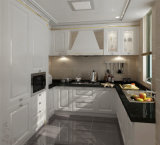 White Lacquer Door Black Quartz Stone Integrated Kitchen