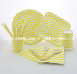 Yellow Chevron Design Colorful Printing Party Products Party Tableware