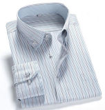 Men's Long Sleeve Business Wrinke Free Striped Double Collar Shirt