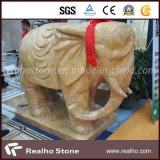 Imperial Gold Marble Stone Sculpture with Elephant