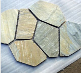 Slate Flagstone Tiles on Mesh for Outdoor Paving, Yellow Slate, Culturestone