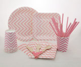 Wholesale Special Pink Chevron Paper Party Tableware