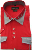 Men Double Color Shirts with Pocket, Flap Shirts, Short Sleeve Shirts